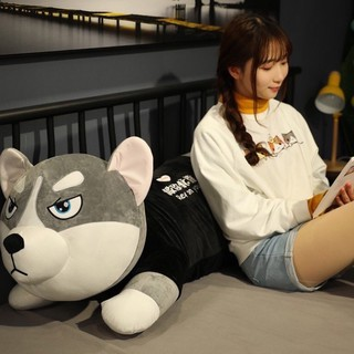 Gấu bông chó husky xám có giãn 4 chiều siêu to khổng lồ 1m3