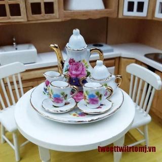 【Twitrt】8Pcs/set 1:12 Dollhouse Miniature Dining Ware Porcelain Tea Dish Cup P
