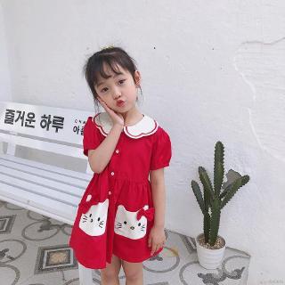 Đầm Xòe In Hình Mèo Hoạt Hình Xinh Xắn Cho Bé Gái