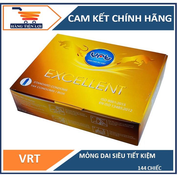 [Mã INCU1114 giảm 25% đơn 99K] Bao cao su VRT Excellent hộp 144 cái - hàng Việt Nam chất lượng cao