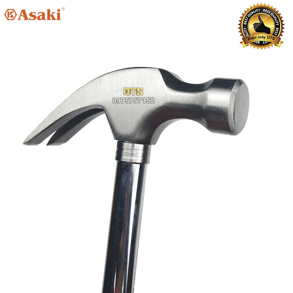 Búa sừng dê, búa nhổ đinh cán thép cứng 16oz/ 454g Asaki AK-0373 – Đầu đóng đinh đầu tròn thép siêu cứng