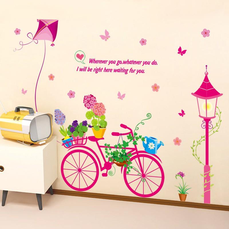 Decal dán tường xe đạp hồng