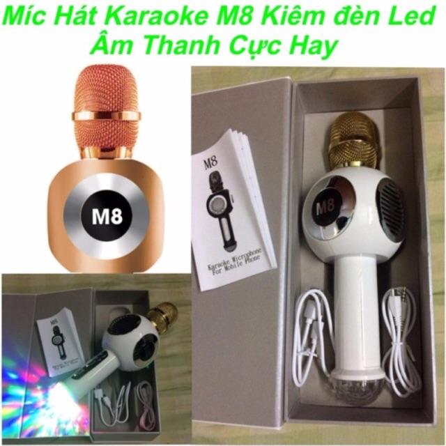 Micro bluetooth karaoke M8 kiêm đèn led âm thanh cực hay