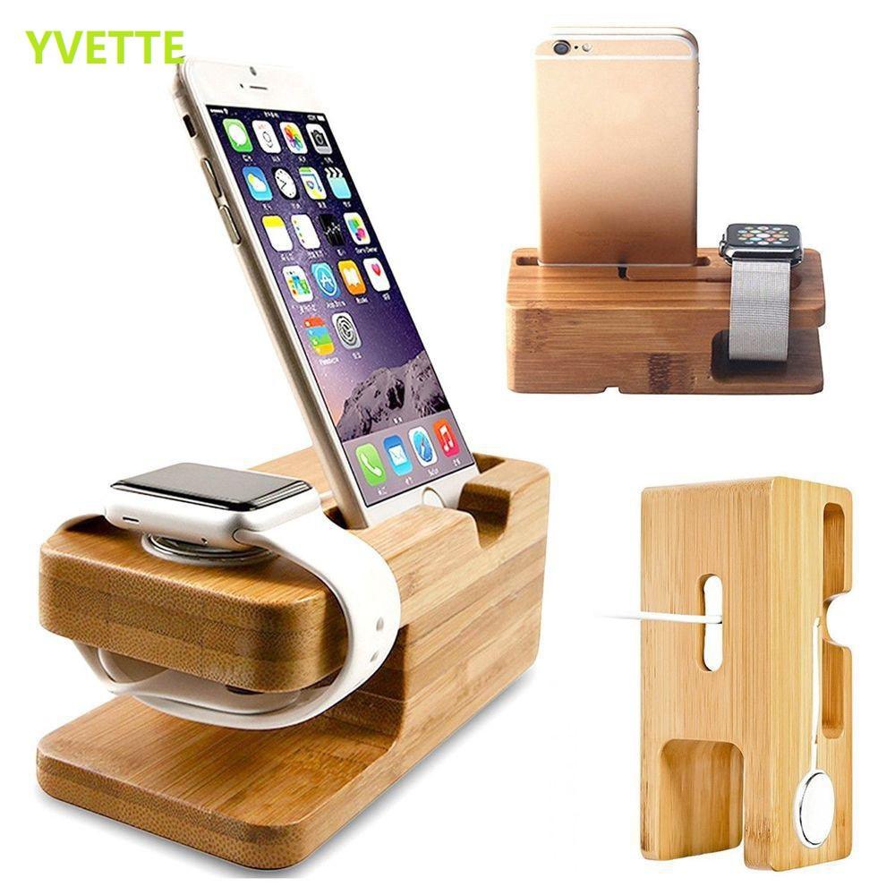 Đế gỗ giữ điện thoại & đồng hồ Apple Watch