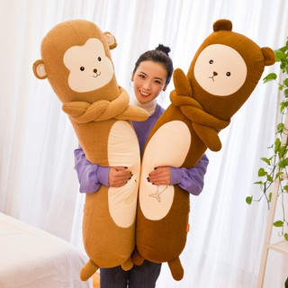 Cartoon animal strip hug plush toy monkey rabbit doll pillow cylinder hug sleeping birthday gift bed
