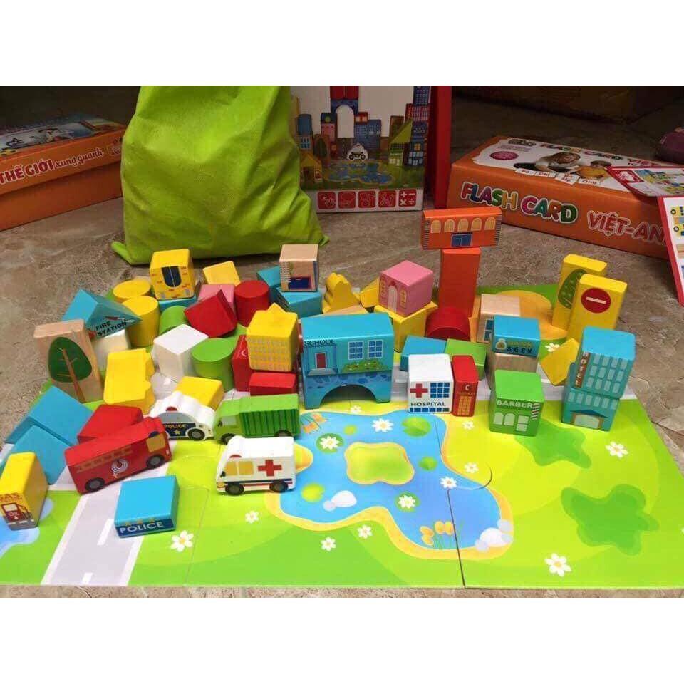 Bộ đồ chơi lắp ghép thành phố 62 chi tiế