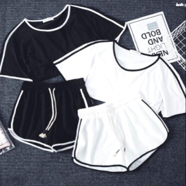 [ TOP BÁN CHẠY] Set quần áo nữ hai màu đen trắng dáng rộng giá rẻ
