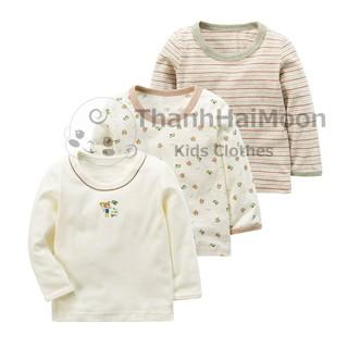 Sét áo bé trai xuất Nhật Chất Cotton Thoáng Mát Chất Lượng Cao Hình Gấu Sọc Màu Be