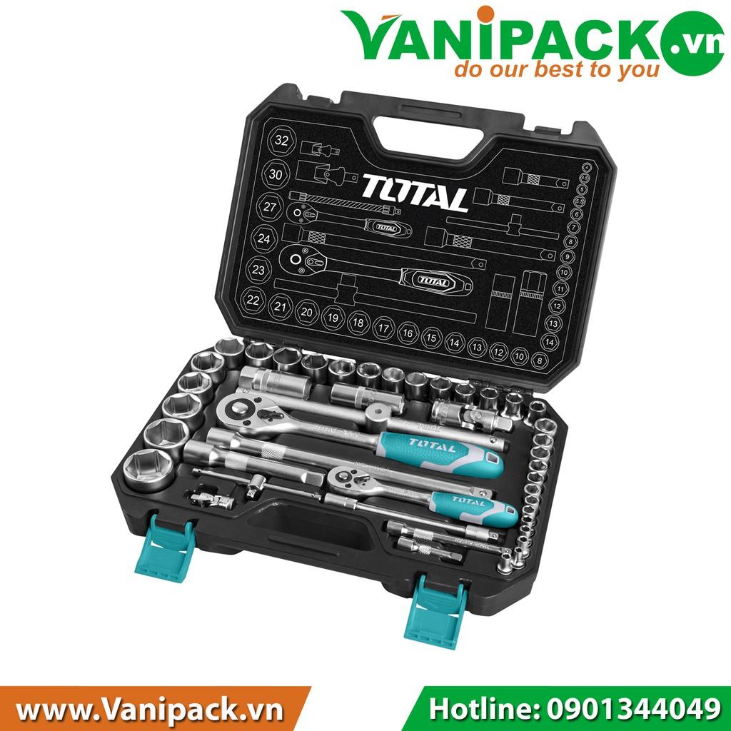Bộ 44 cái socket 1-4+1-2 inch & cần 2 chiều Total THT421441