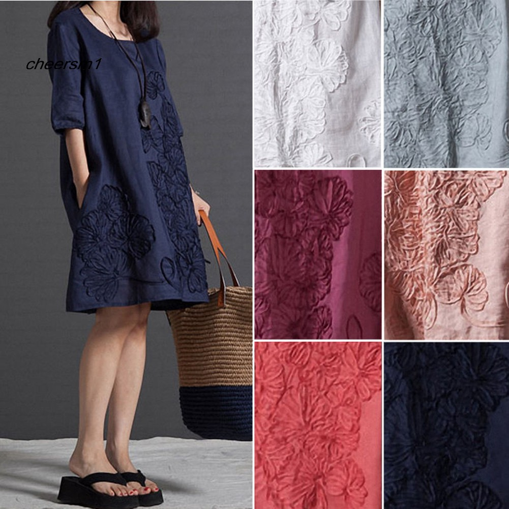 CHE♥Summer Lady Floral Embroidered O-Neck Beach Cotton Linen Half Sleeve Loose Dress