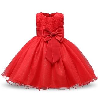 Đầm xòe công chúa thêu họa tiết hoa cho bé gái