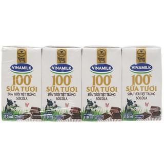 Lốc 4 hộp sữa tươi Vinamilk có đường/ít đường/socola 110ml