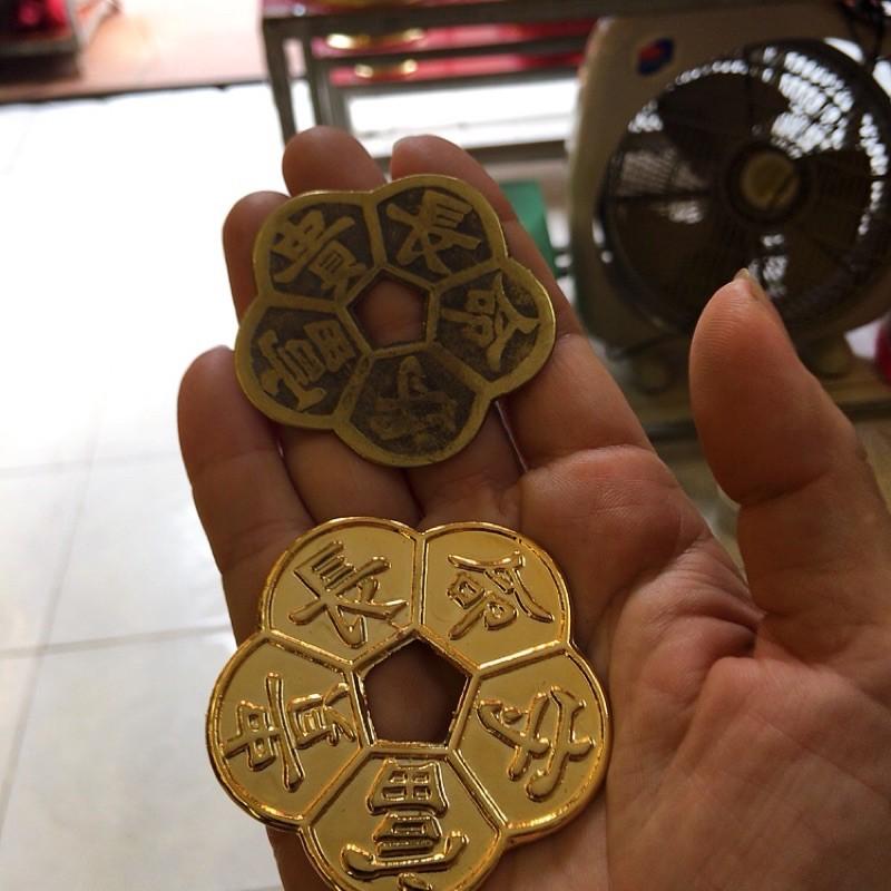 Đồng hoa mai mạ vàng nano 5cm