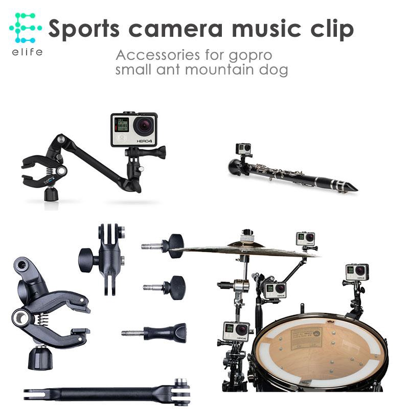 HA Gopro Musical Instrument Holder Camera Stand Sports Camera Clamp Accessories Metal Flexible