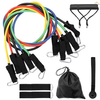 M-start 11 Pcs Set Fitness Puller Multi-functional Muscle Strength Yoga Training Rope Resistance Belt