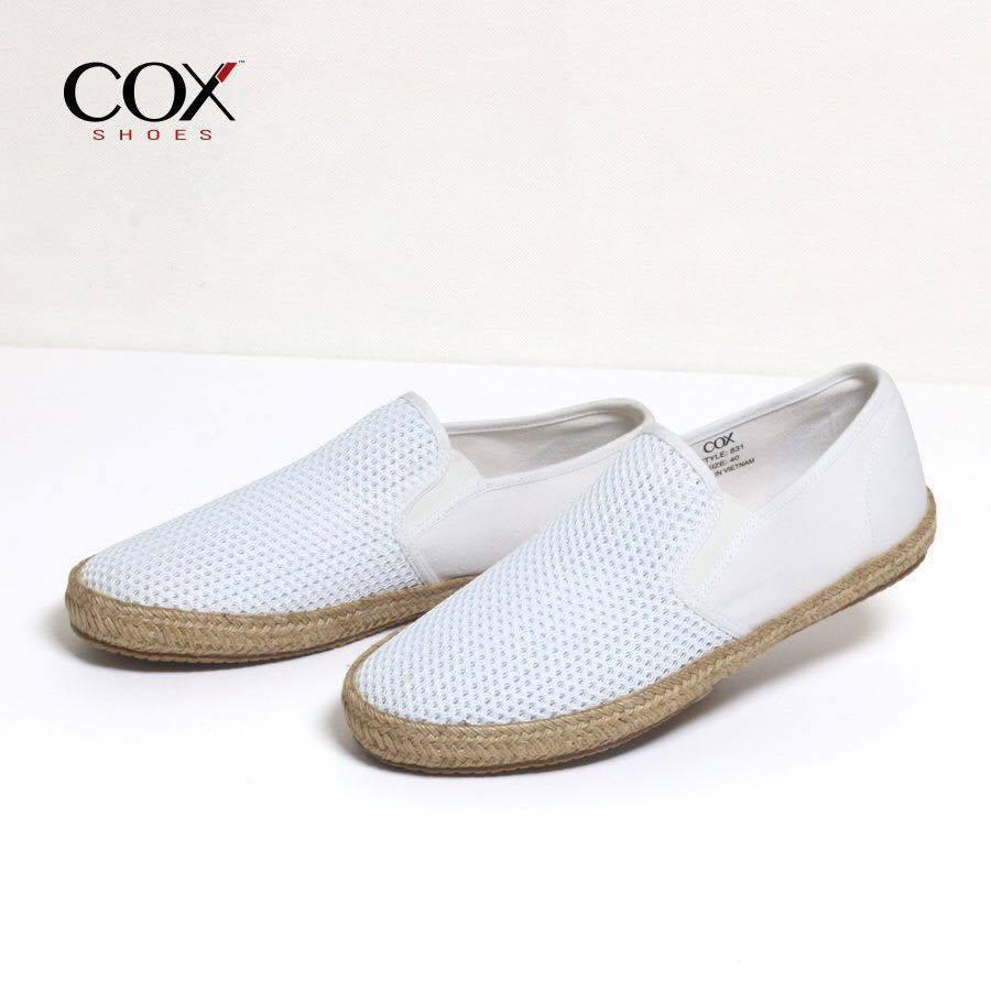 [FULLBOX + FREESHIP] GIày Lười Vải Cox Shoes White 831