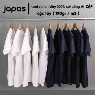 Áo thun nam phông trơn cộc tay cotton 100% mặc thoáng mát dày dặn thương hiệu Japas áo thun chuẩn Nhật cho nam nữ