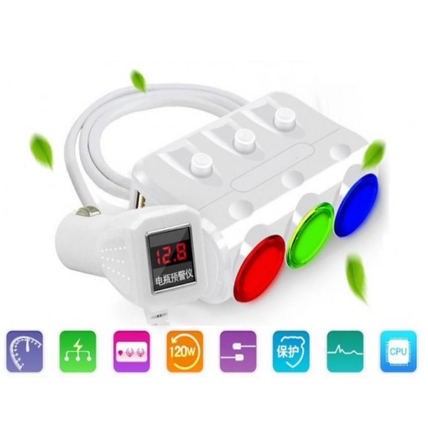 Bộ chia 3 nguồn tẩu thuốc lá trong xe ô tô kèm 2 cổng sạc USB Huyndai cao cấp 6489 (Đen) - 13977313 , 648245712 , 322_648245712 , 460000 , Bo-chia-3-nguon-tau-thuoc-la-trong-xe-o-to-kem-2-cong-sac-USB-Huyndai-cao-cap-6489-Den-322_648245712 , shopee.vn , Bộ chia 3 nguồn tẩu thuốc lá trong xe ô tô kèm 2 cổng sạc USB Huyndai cao cấp 6489 (Đen