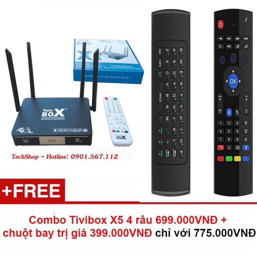 SMART TIVI BOX ANDROID TELE X5 VER 2 4 ĂNG TEN+ Chuột bay 399.000VNĐ