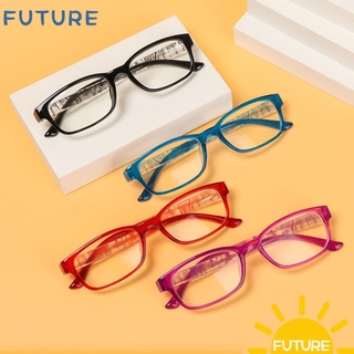 🎈FUTURE🎈 With Diopter Reading Glasses High-definition Hyperopia Eyewear Presbyopia Eyeglasses Reduces Eye Strain +1.0~+4.0 PC AC Resin Lens Spectacle Frames black/purple/black