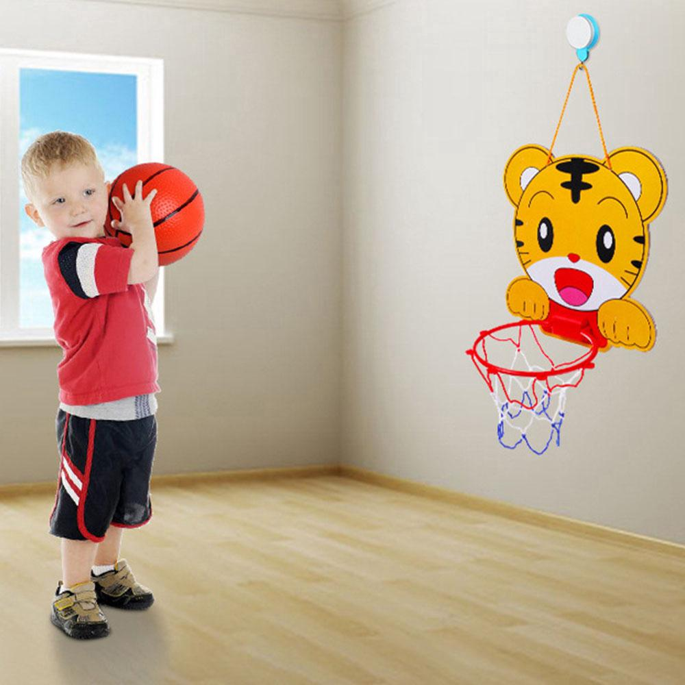 Plastic Basketball Hoop Mini Cartoon kids Indoor Sports Hanging Wall Toy + ball