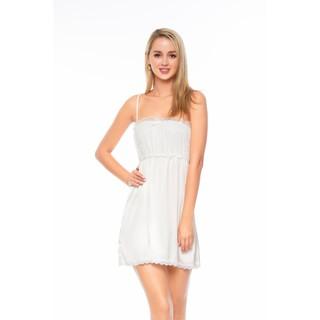 Dreamy VX10 06 Váy ngủ lụa cao cấp hai dây dáng xòe quyến rũ màu trắng thumbnail