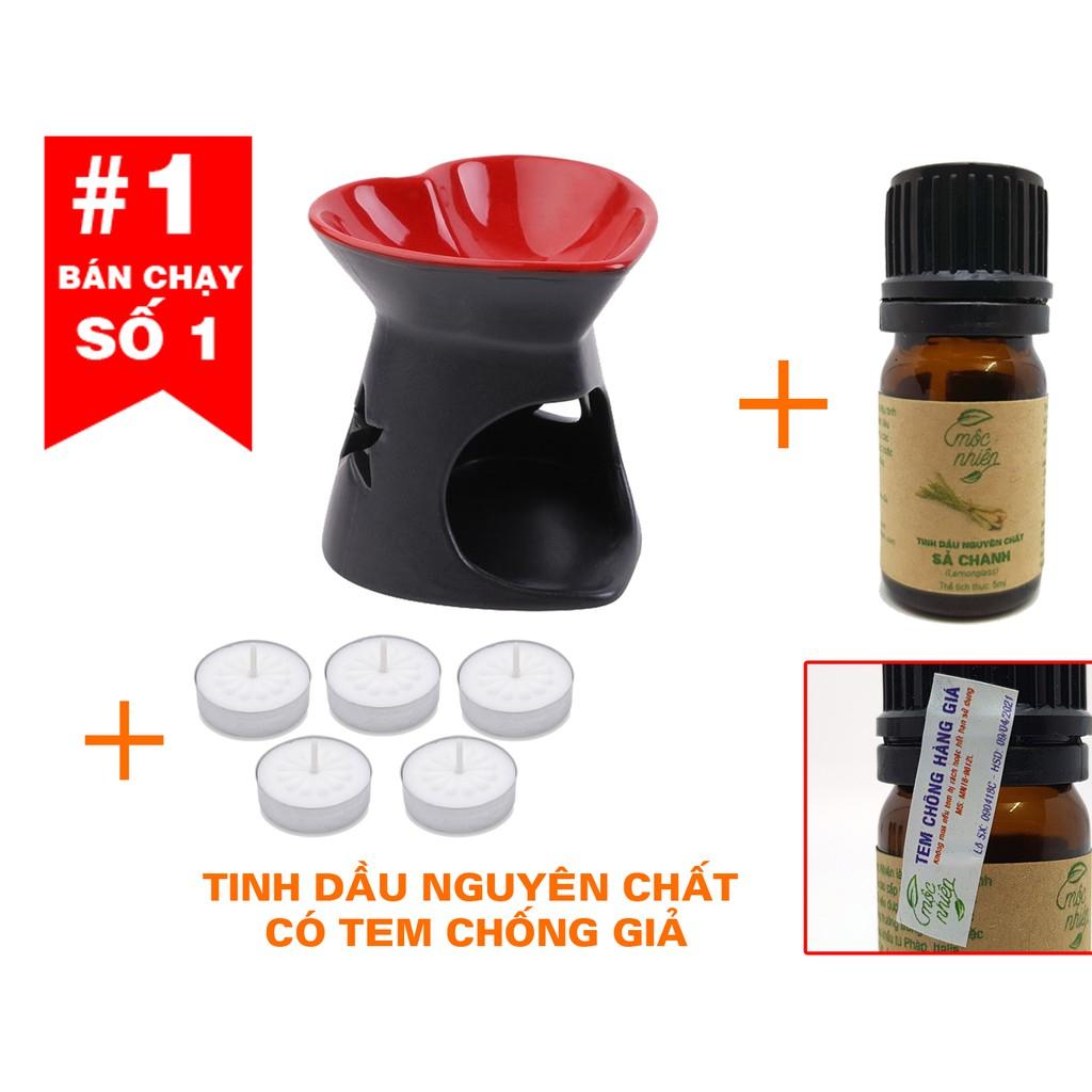 Combo 1 đèn xông tinh dầu + 1 tinh dầu + 5 nến (inbox chọn mùi)