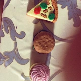 Charm bánh hồng,charm hamburger,charm pizza