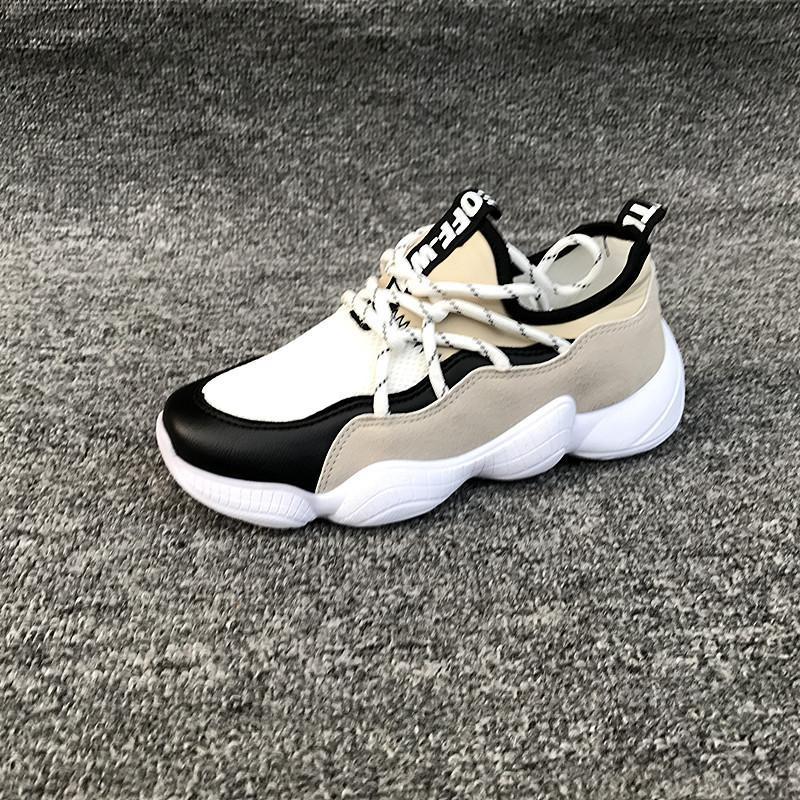 5290 Giày sneaker nữ vải phối da tổng hợp dày dặn