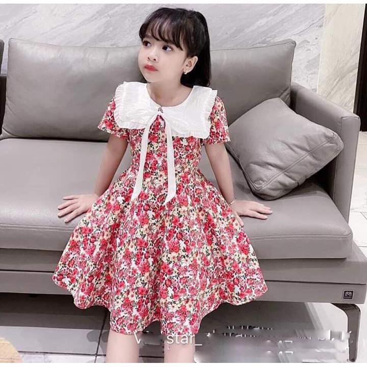 {SIZE NHÍ + ĐẠI} 💥💥💥 Váy bé gái hoa nhí cổ nơ cực xinh cho bé gái - VBG-HH-HX