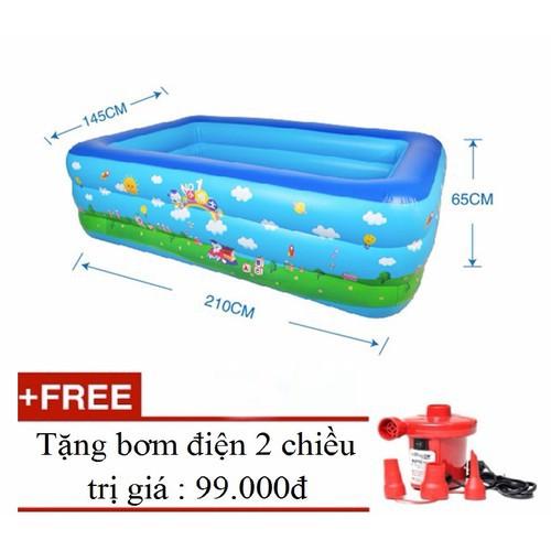Bể bơi 2m1, 3 tầng kèm bơm điện cho trẻ