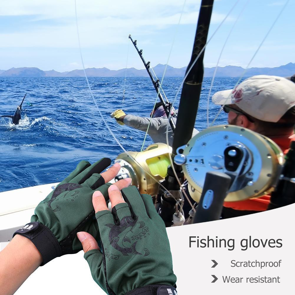 Ez.vn 1 Pair Skidproof Resistant Half Finger Pa Cycling Fishing Anti-Slip Glove