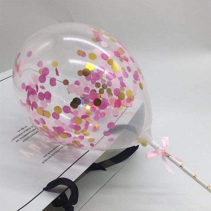 Combo 10 bong bóng trong suốt Sequin trang trí sinh nhật cỡ 30cm bóng bay kim tuyến