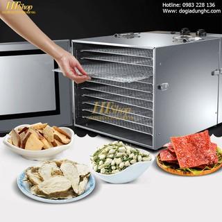 Máy sấy khô thực phẩm innox 10 khay /Năng suất sấy lớn/ Hiệu quả sấy khô cao   TẶNG cân điện tử loại 10kg dịp 9-9