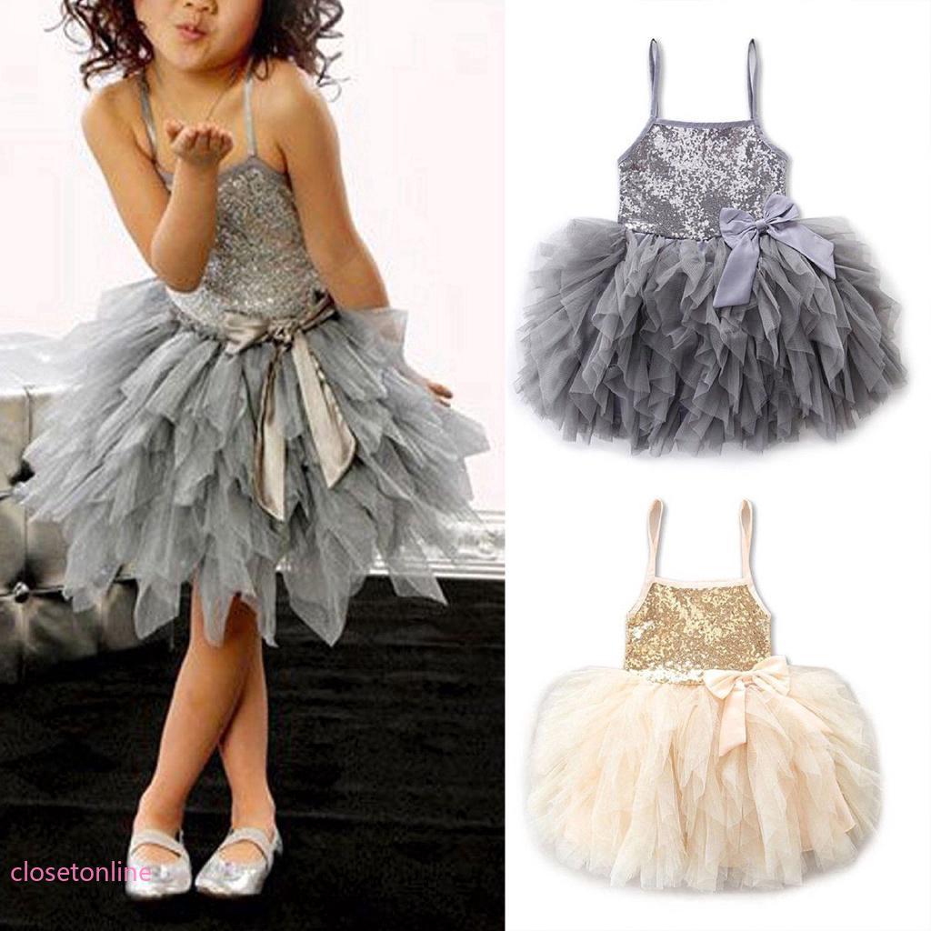 Đầm bé gái không tay sequin có đính nơ , đầm công chúa dự tiệc