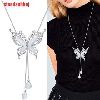 (TTY-COD)Opal Stone Butterfly Chain Sweater long Necklace Pendants Gift for Girl Jewelry