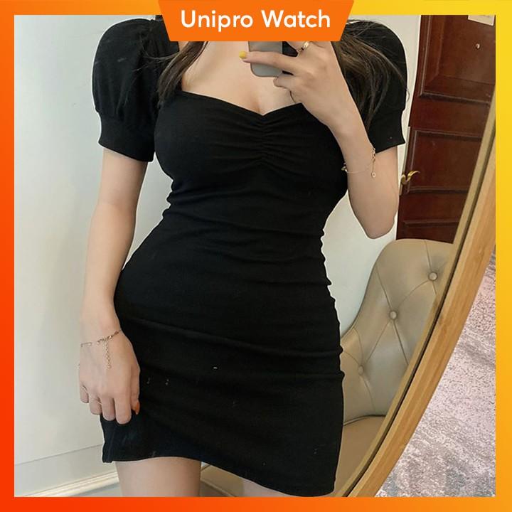 [Chuẩn Form] Váy Body Trơn Màu Đen Cổ Vuông Chất Thun Tôn Dáng Cực Hot 2020