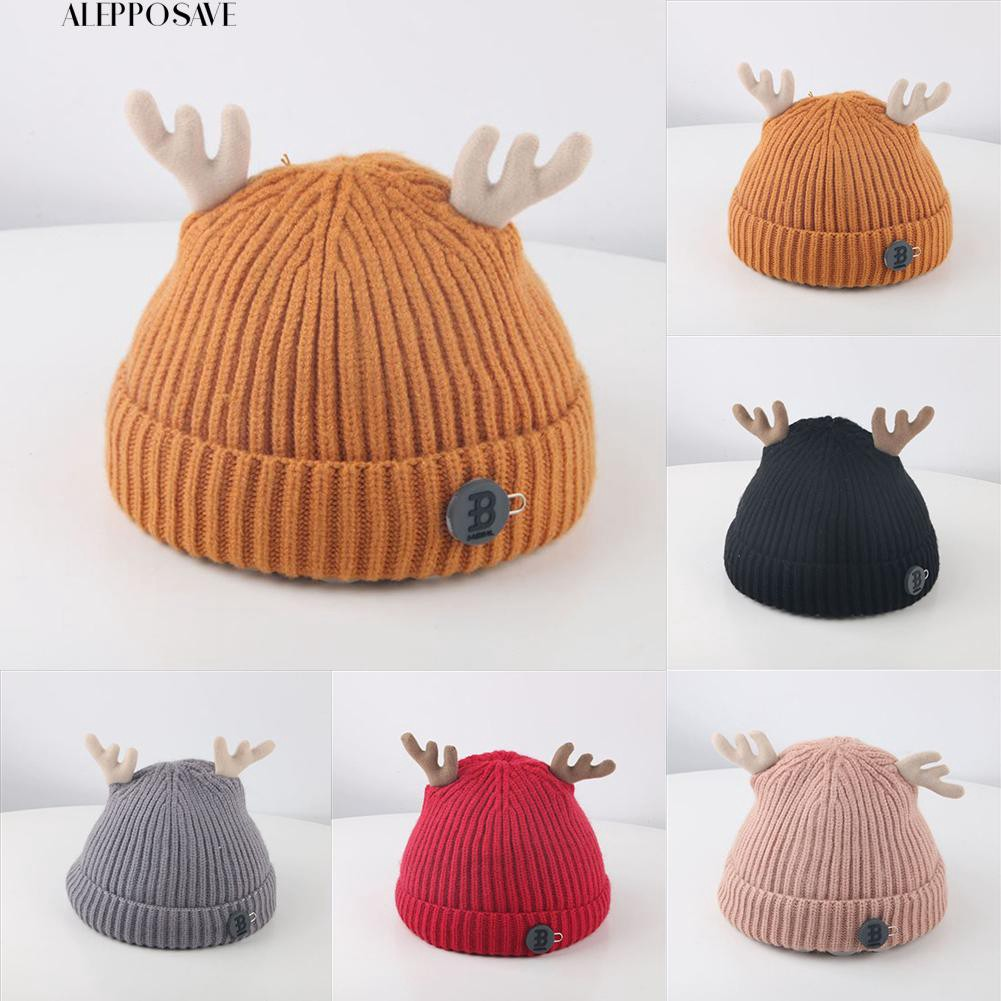 🐻 ALE  Baby Boy Girl Antler Solid Beanie Cap Warm Knitted Hat