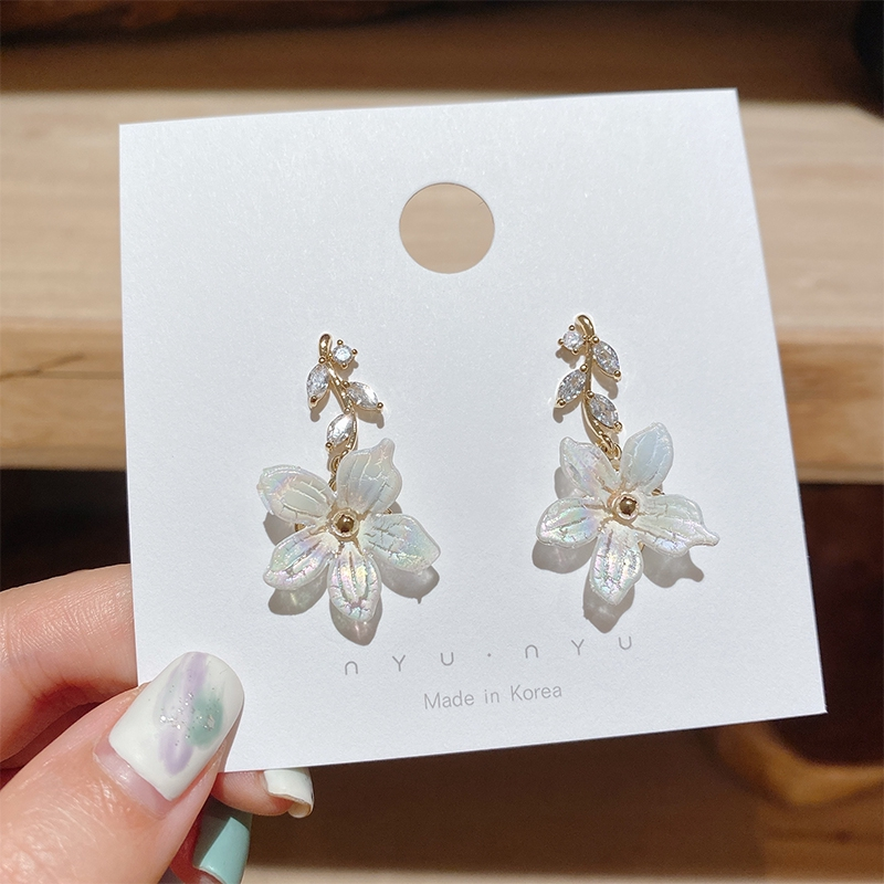 Khuyên tai kim mạ bạc 925 hình bông hoa đính đá sang trọng dành cho nữ