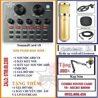 TRỌN BỘ HÁT THU ÂM, LIVESTREAM SOUND CARD V8 + MICRO BM900