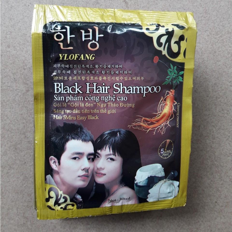 Combo 10 gói Gội đen tóc Black Hair Shampoo