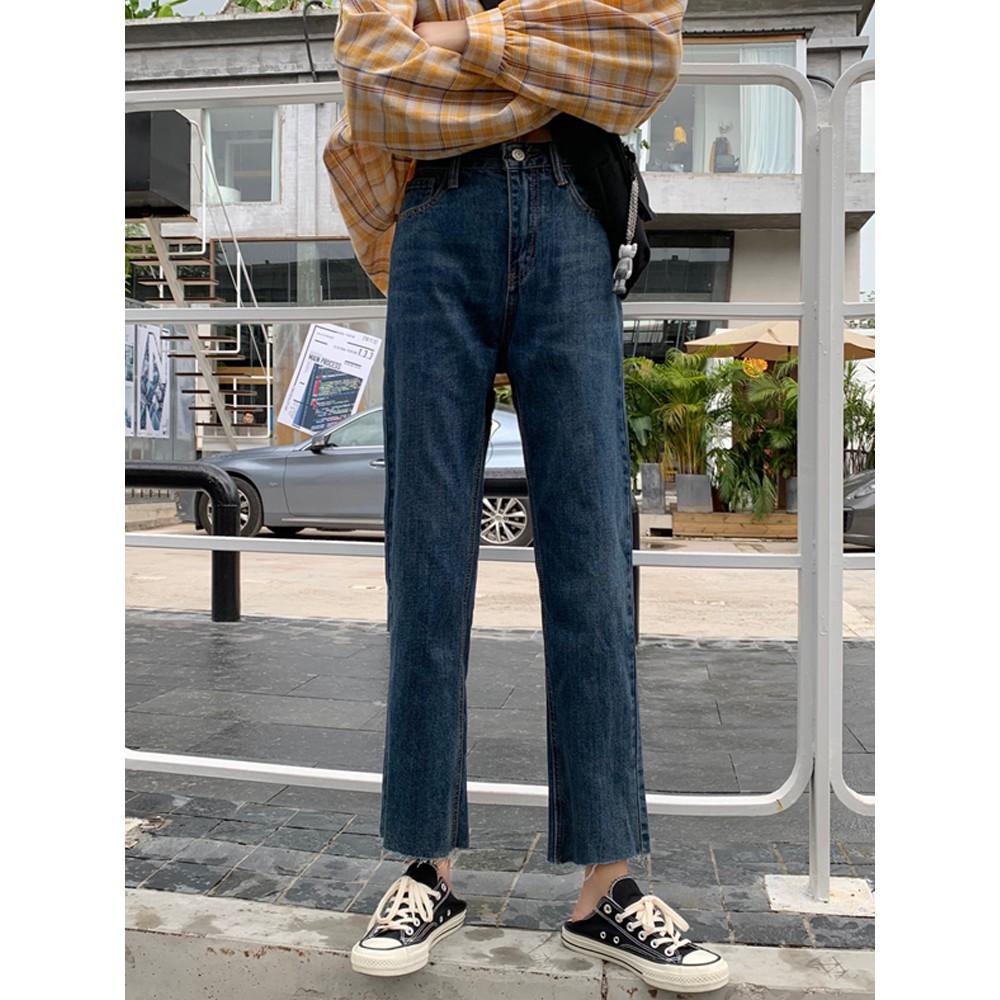 กางเกงหญิงฤดูใบไม้ร่วง 2019 เวอร์ชั่นเกาหลีใหม่ของกางเกงเอวสูงตรงเป็นนักเรียนบางป่าถุงน่องกางเกงยีนส์สีแดงเครือข่าย