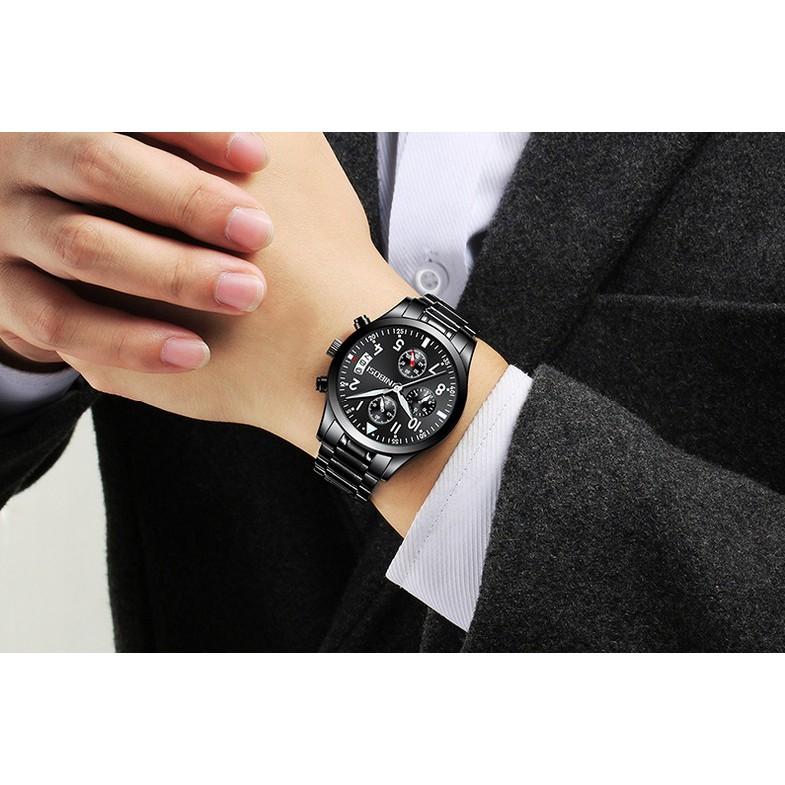 Đồng hồ nam Nibosi full 6 kim 2303 (Black-Black)