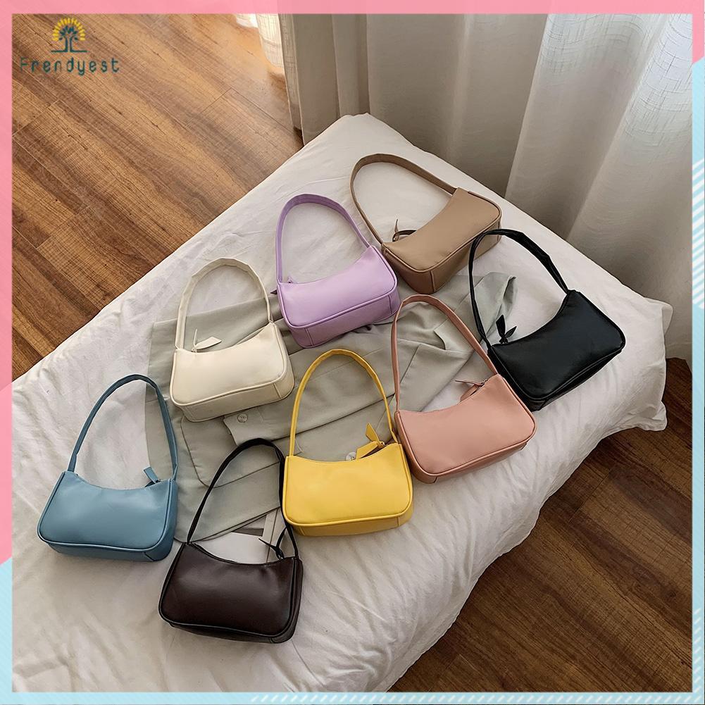 Túi xách đeo vai màu trơn thanh lịch đơn giản cho nữ