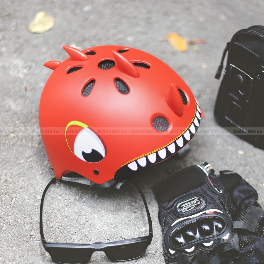 Mũ Bảo Hiểm Trẻ Em Khủng Long Trắng