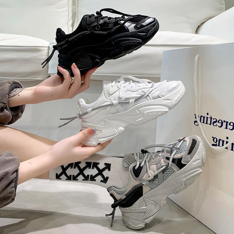 (VIDEO) Giày Thể Thao Nữ Đế Độn Dây Viền Phản Quang Kiểu Dáng Hot Trend
