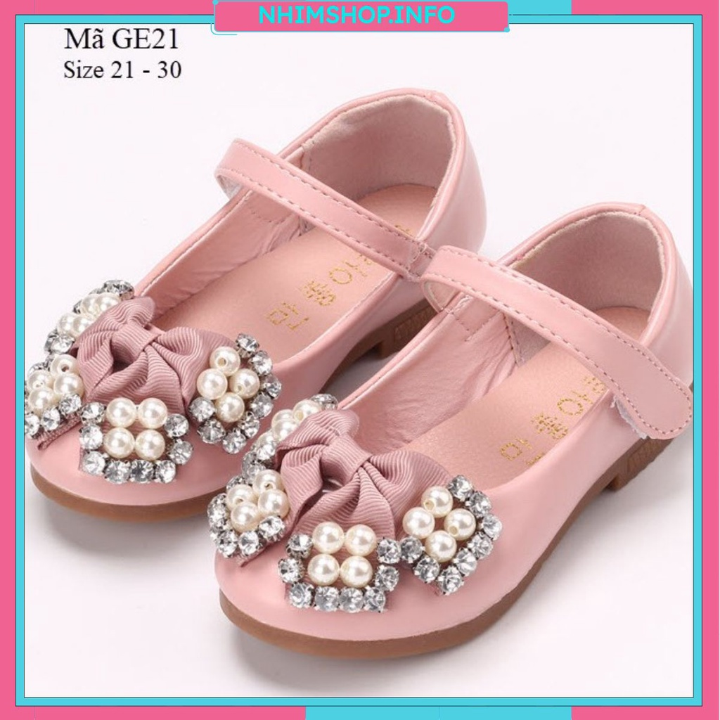 Giày bé gái búp bê gắn nơ cho trẻ em 1 đến 3 tuổi màu hồng quai dán điệu đà  và duyên dáng mang êm cống trơn trượt GE21 - Giày bệt