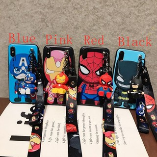 For OPPO F11 F9 PRO F7 F5 F3 F1S Cartoon Superhero Cool Lanyard+doll soft phone Case
