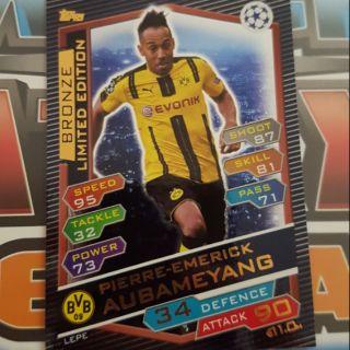 Aubameyang Bronze Limited Edition Topps match attax UCL 2017 ( thẻ cầu thủ )