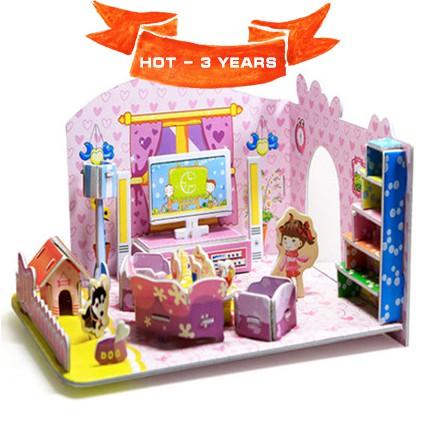Mô hình nhà bìa ghép kute DIY Bé Gái & Nhà Hồng - Phát triển trí tuệ cho bé (Từ 3 tuổi trở lên) - M